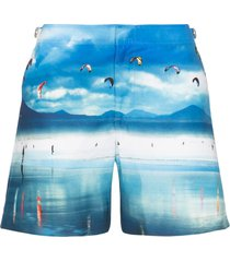 orlebar brown bulldog high flyers print swim shorts - blue