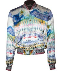 multicolored tie-dye bomber jacket