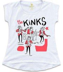 camiseta t-shirt rock cool tees caco galhardo banda the kinks feminina - feminino