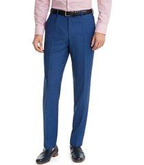 hugo hugo boss men's slim-fit medium blue sharkskin suit pants