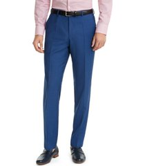 hugo men's modern-fit medium blue sharkskin suit pants