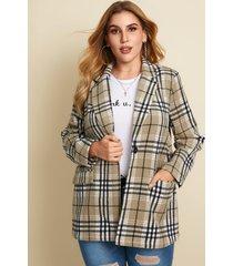 abrigo de manga larga con bolsillos laterales y diseño de botones a cuadros de talla grande yoins