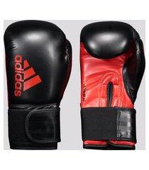 luva de boxe e muay thai adidas hybrid 50 preta e vermelha
