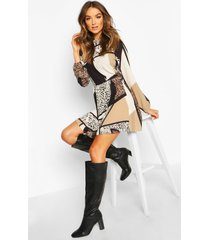 animal print ruffle neck smock dress, brown