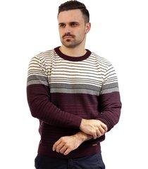 blusa de malha masculina listrada sumaré 10423 vermelho - kanui