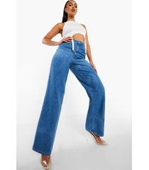 high rise dad jeans, mid blue