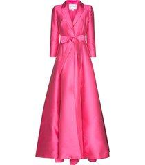 carolina herrera belted tuxedo maxi dress - pink