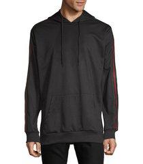 american stitch men's striped arm hoodie - black - size m