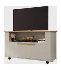 rack fenice para tvs até 42 pol. com rodízios cinamomo/off-white móveis bechara