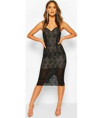 gehaakte kanten midi-jurk met bandjes, zwart