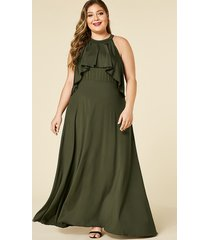 plus size army green halter sleeveless maxi dress