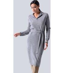 gebreide jurk alba moda lichtgrijs