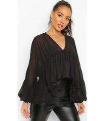 geplooide gesmokte top met hemdje, black