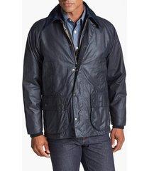 men's barbour 'bedale' regular fit waxed cotton jacket, size 40 - blue