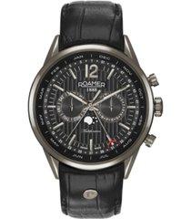 roamer men's 3 hands moonphase 43 mm dress watch in gunmetal steel case on strap