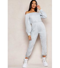 off shoulder pocket detail lounge jumpsuit, grey marl