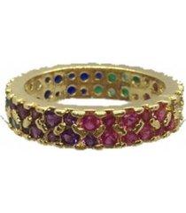 anel narcizza cravejado com zircã´nia multicores banhado no ouro - multicolorido - feminino - dafiti