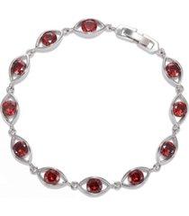 a & m silver-tone garnet accent oval tennis bracelet