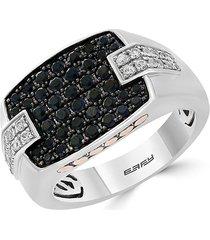 effy men's sterling silver & 14k yellow gold black & white sapphire ring - size 10