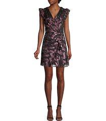 lurex jacquard ruffle wrap dress