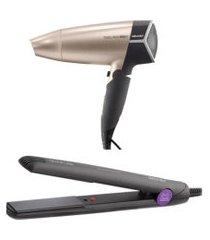 secador de cabelo mallory travel 1500w  + chapa prancha alisadora mallory divini liss roxa bivolt