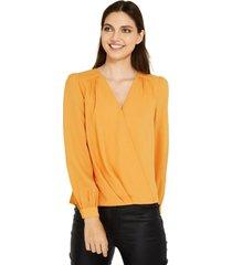 blusa básica pliegues amarillo nicopoly