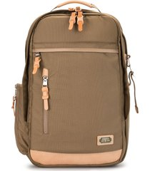 as2ov multi-pocket nylon backpack - brown
