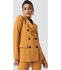 na-kd classic contrast buttons blazer - yellow