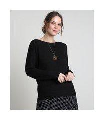 suéter feminino em tricô decote canoa preto