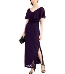 connected petite jacquard cape overlay gown