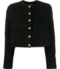 marine serre cropped jacquard jacket - black