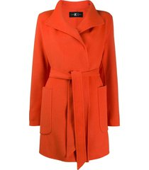 luisa cerano belted single-breasted coat - orange