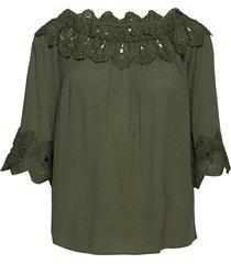 bea lace blouse blus långärmad grön cream