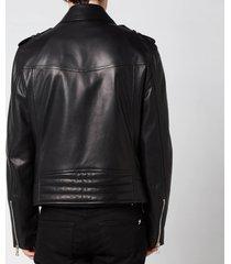 balmain men's leather biker jacket - black - 50/l