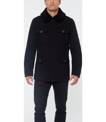 vince camuto men's wool coat with sherpa collar jacket