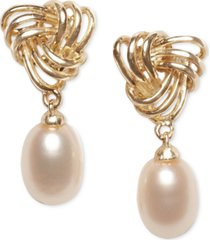 cultured freshwater pearl (7 x 9mm) love knot drop earrings in 18k gold-plated sterling silver