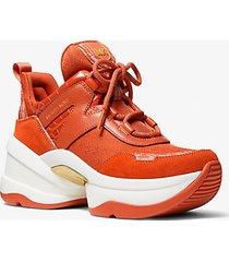 mk sneaker olympia in pelle stampa coccodrillo e logo jacquard - spezia arancio (arancio) - michael kors