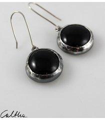 czarne w srebrze - kolczyki