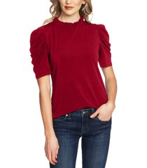 cece puff-sleeve ruffled-neck top