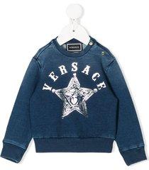 young versace western logo sweatshirt - blue
