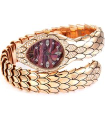'cobra' diamond mother of pearl 18k rose gold watch
