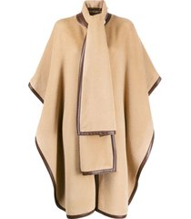 alberta ferretti oversized textured cape coat - brown