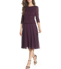 women's alex evenings mock two-piece tea length dress