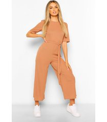 ribbed t-shirt style belted wide leg jumpsuit, camel