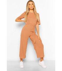 geribbeld t-shirt style wide leg jumpsuit met riem, kameel