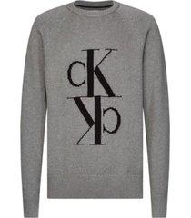jersey de lana y algodón con monograma calvin klein