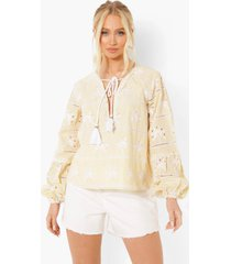 broderie anglaise blouse met kwastjes, stone
