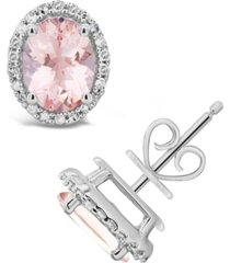 morganite (2-1/10 ct. t.w.) and diamond (1/5 ct. t.w.) stud earrings in sterling silver
