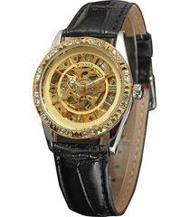 reloj mecánico winner para mujer, anillo de piña con diamantes.