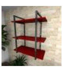 prateleira industrial para sala aço preto prateleiras 30 cm vermelho escuro modelo ind09vrsl